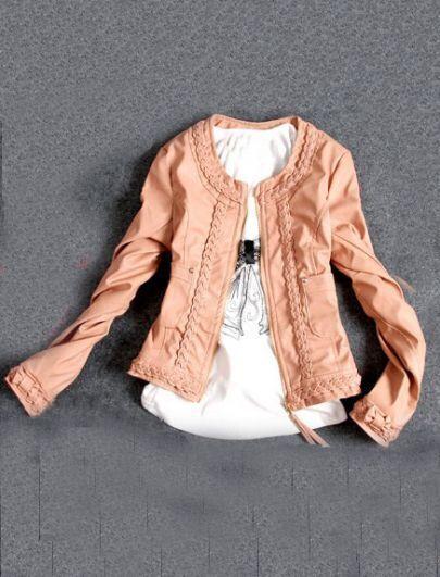 Pink Round Neck Long Sleeve Zipper PU Jacket