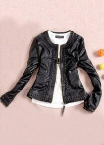 Black Round Neck Long Sleeve Zipper PU Jacket