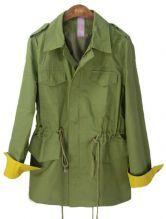 Green Lapel Drawstring Waist Pockets Trench Coat