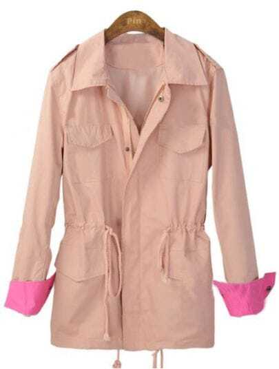 Pink Lapel Drawstring Waist Pockets Trench Coat