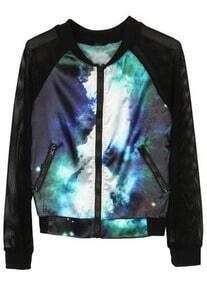 Dark Turquoise Galaxy Long Sleeve Zipper Coat