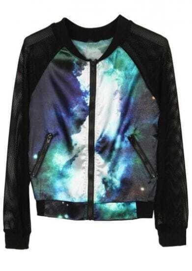 Dark Turquoise Galaxy Long Sleeve Zipper Coat