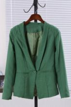 Green Lapel Single Button Pockets Suit