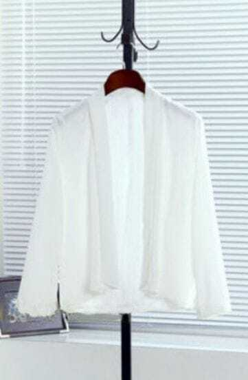 White Long Sleeve Shawl Loose Chiffon Suit