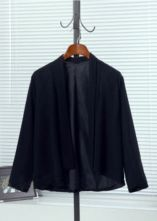 Black Long Sleeve Shawl Loose Chiffon Suit