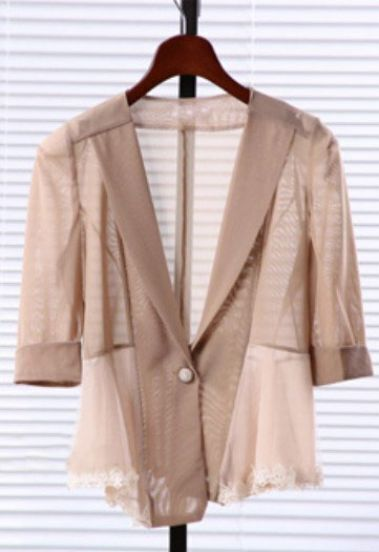 Nude V Neck Single Button Bow Lace Chiffon Suit