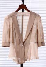 Nude V Neck Single Button Bow Lace Chiffon Suit