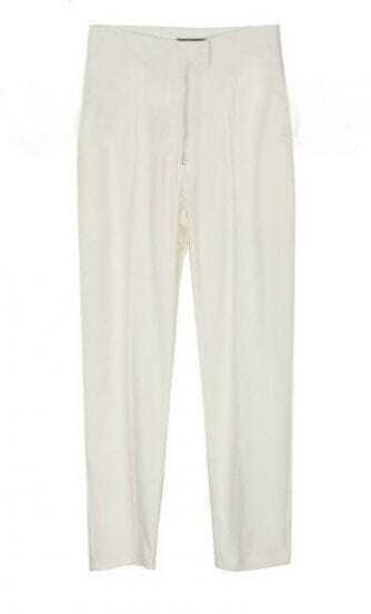 White Casual Zipper Fly Pant