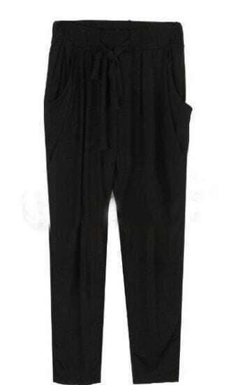 Black Drawstring Waist Pleated Harem Pant