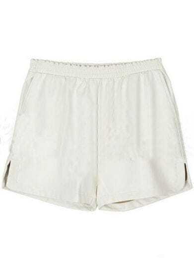 White Elasic Mid Waist PU Shorts