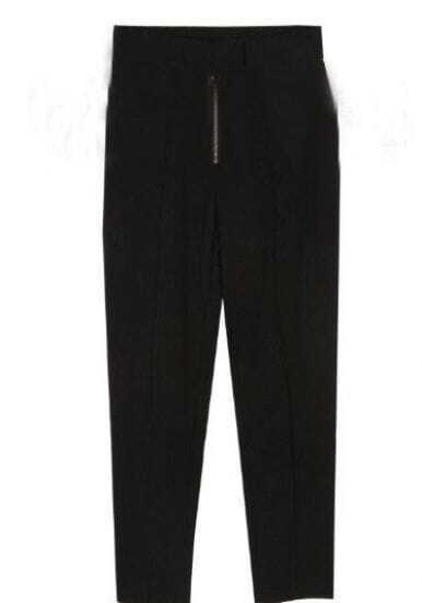 Black Casual Zipper Fly Pant