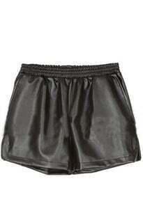 Black Elasic Mid Waist PU Shorts