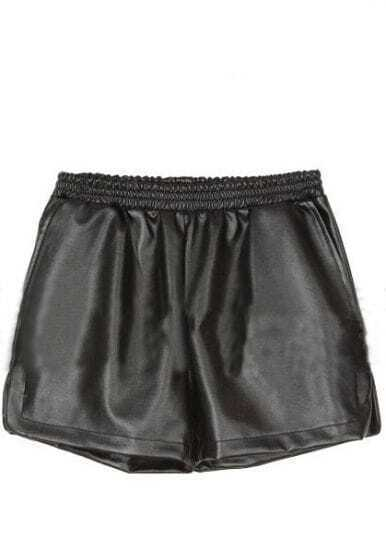 Black Elasic Mid Waist PU Shorts