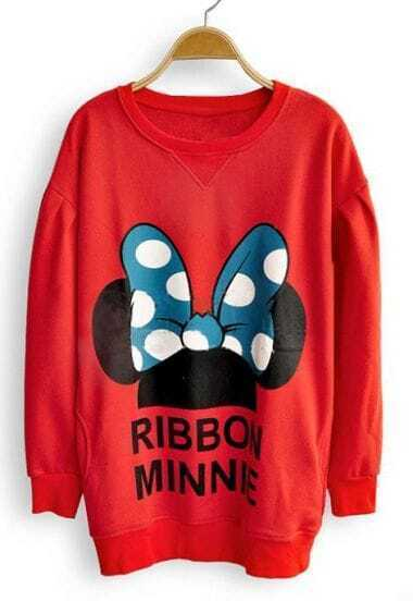 Red Long Sleeve RIBBON MINNIE Print Sweatshirt