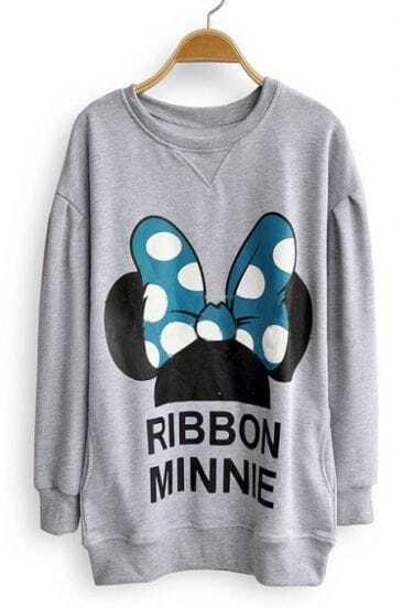 Grey Long Sleeve RIBBON MINNIE Print Sweatshirt
