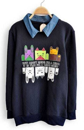 Navy Denim Lapel Long Sleeve Cartoon Sweatshirt