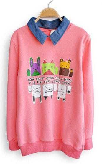 Pink Denim Lapel Long Sleeve Cartoon Sweatshirt