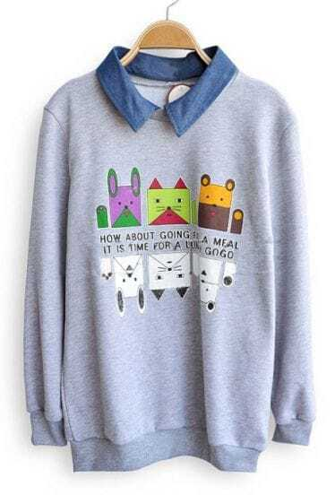 Grey Denim Lapel Long Sleeve Cartoon Sweatshirt