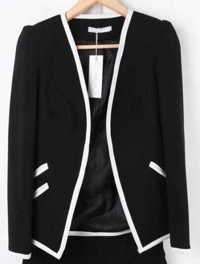 Black Long Sleeve Contrast Trims Pockets Suit