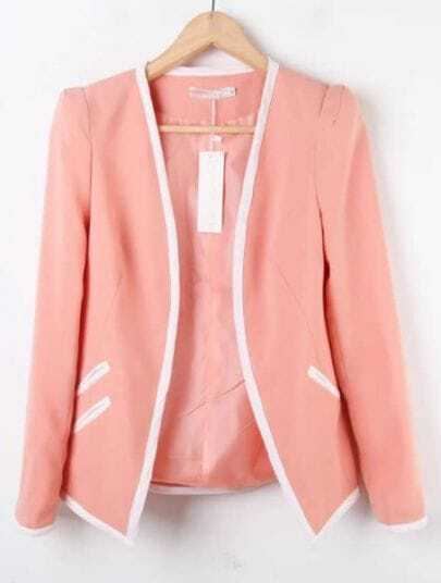 Pink Long Sleeve Contrast Trims Pockets Suit