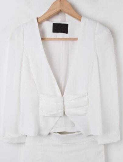 White V Neck Long Sleeve Pleated Crop Suit