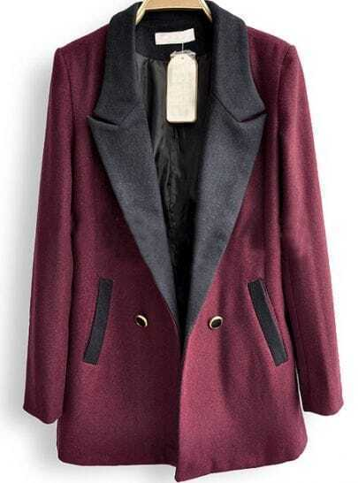 Dark Red Notch Lapel Double Breasted Pockets Suit