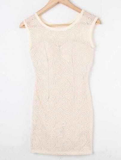 Apricot Sleeveless Lace Hollow Embroidery Bodycon Dress