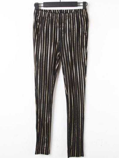 Black Gold Vertical Stripe Elasic Waist Leggings