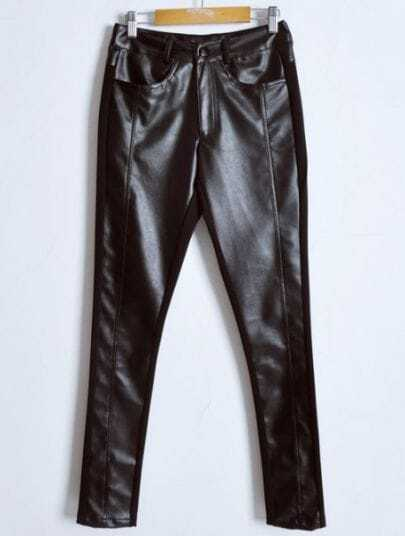 Black Low Waist Button Fly PU Leather Pant