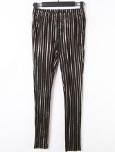 Black Gold Vertical Stripe Elasic Waist Leggings
