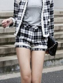 Black White Plaid Fringe Tweed Chain Shorts