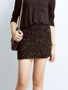 Black Sequined Elasic Bodycon Cotton Skirt