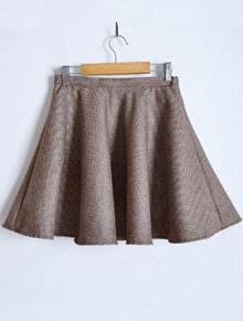 Coffee Tweed Houndstooth A Line Skirt