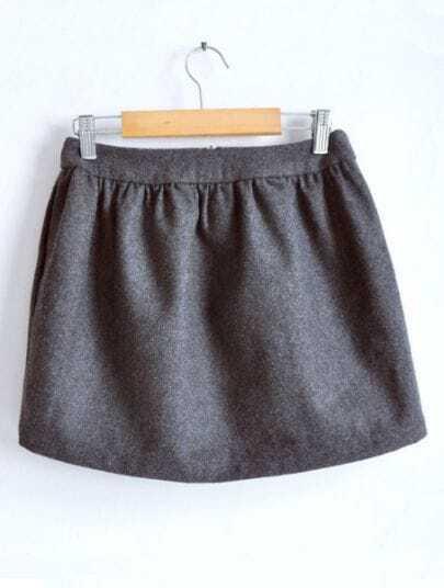 Grey High Waist Zipper Pleated Woolen Skirt