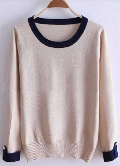 Khaki Contrast Trims Buttons Long Sleeve Sweater