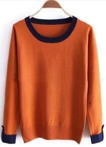 Orange Contrast Trims Buttons Long Sleeve Sweater