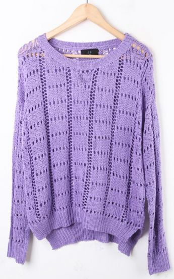 Purple Long Sleeve Hollow Batwing Pullovers Sweater