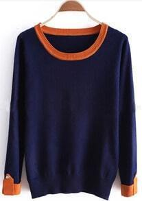 Blue Contrast Trims Buttons Long Sleeve Sweater