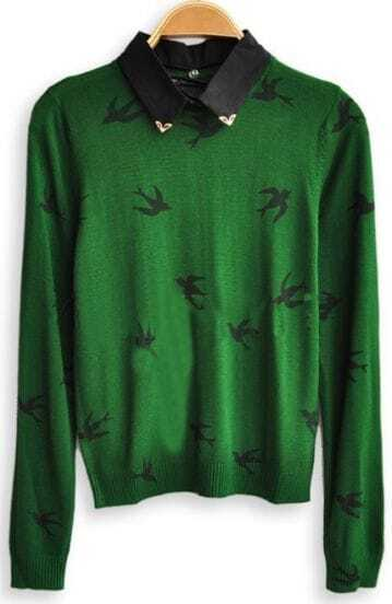 Green Long Sleeve Birds Print Pullovers Sweater