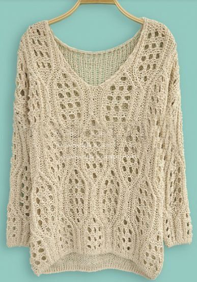 Beige Long Sleeve Hollow Batwing Pullovers Sweater