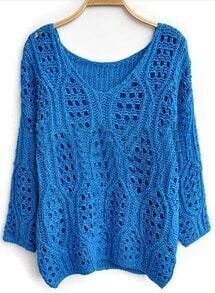 Blue Long Sleeve Hollow Batwing Pullovers Sweater