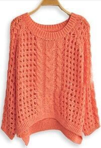Dark Pink Long Sleeve Hollow Loose Pullovers Sweater