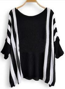Black White Broken Stripe Batwing Sleeve Pullovers Sweater