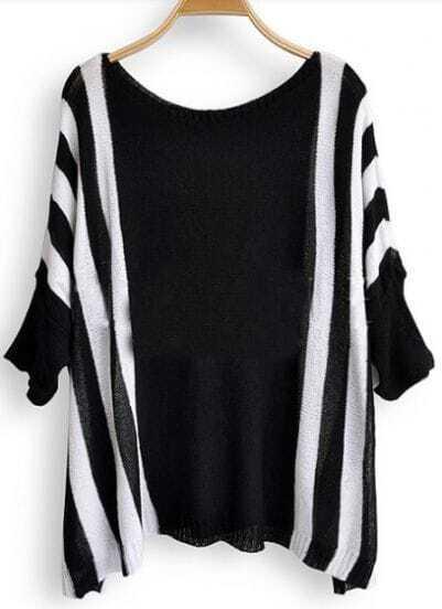 Black White Broken Stripe Batwing Sleeve Pullovers Sweater