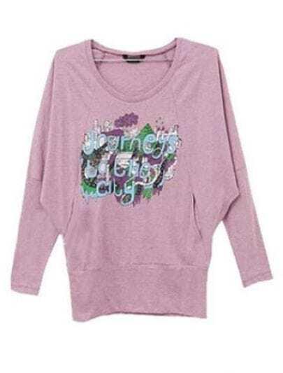 Pink Long Sleeve Floral Batwing Cartoon T-Shirt