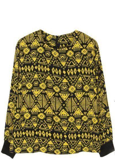 Yellow Long Sleeve Tribal Print Zipper T-Shirt