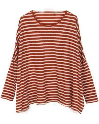 Red White Striped Batwing Long Sleeve T-Shirt