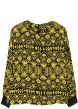 Yellow Long Sleeve Tribal Print Zipper T-Shirt