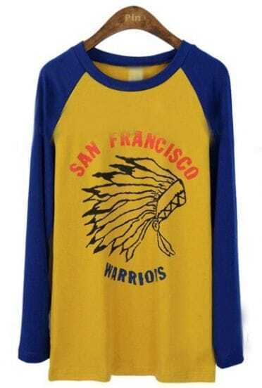 Yellow Blue Long Sleeve Indian Print T-Shirt