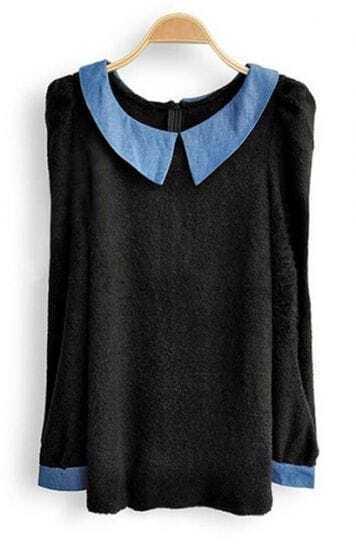 Black Contrast Collar Long Sleeve Zipper T-Shirt